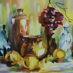still life, 24 x 18 inch, roshni agrawal,still life paintings,paintings for dining room,canvas,acrylic color,24x18inch,GAL018935228