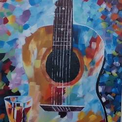 guitar, 15 x 22 inch, roshni agrawal,impressionist paintings,paintings for living room,canvas,acrylic color,15x22inch,GAL018935230