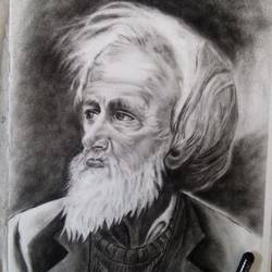 old man, 12 x 16 inch, roshni agrawal,portrait drawings,paintings for living room,cartridge paper,charcoal,12x16inch,GAL018935231
