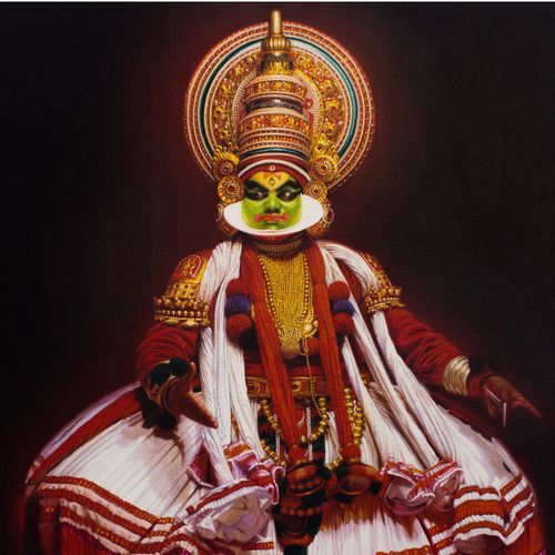 kathakali dance drama, 18 x 24 inch, avinash oza,realism paintings,paintings for living room,figurative paintings,canvas,acrylic color,18x24inch,GAL019005232