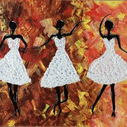 3 girls, 17 x 15 inch, amita dand,abstract paintings,paintings for living room,handmade paper,acrylic color,17x15inch,GAL014675235