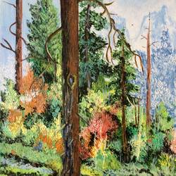 mountain and trees, 10 x 15 inch, amita dand,landscape paintings,paintings for living room,canson paper,acrylic color,10x15inch,GAL014675236