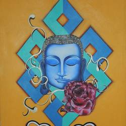 ataraxia, 20 x 30 inch, sohini arora,buddha paintings,paintings for dining room,canvas,acrylic color,20x30inch,religious,peace,meditation,meditating,gautam,goutam,buddha,blue,flower,GAL019015237