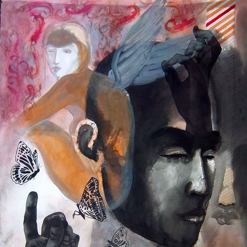 adam and eve, 22 x 30 inch, avi roy,conceptual paintings,thick paper,mixed media,22x30inch,GAL0172524