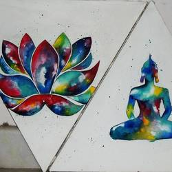 galactichues, 15 x 12 inch, sohini arora,buddha paintings,paintings for living room,canvas,acrylic color,15x12inch,religious,peace,meditation,meditating,gautam,goutam,buddha,lotus,colourful,shadow,lord,GAL019015241