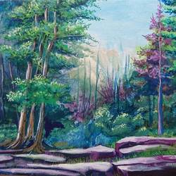 greeny nature, 13 x 9 inch, mahendra shewale,nature paintings,paintings for living room,canvas,acrylic color,13x9inch,GAL018725243Nature,environment,Beauty,scenery,greenery