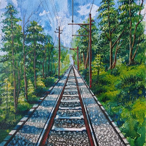 railway track , 10 x 14 inch, mahendra shewale,landscape paintings,paintings for living room,handmade paper,watercolor,10x14inch,GAL018725244