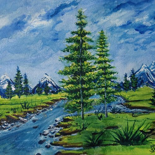 beautiful nature, 14 x 10 inch, mahendra shewale,nature paintings,paintings for bedroom,handmade paper,watercolor,14x10inch,GAL018725245Nature,environment,Beauty,scenery,greenery