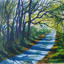 road with greeny nature, 11 x 7 inch, mahendra shewale,nature paintings,paintings for living room,handmade paper,watercolor,11x7inch,GAL018725246Nature,environment,Beauty,scenery,greenery