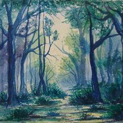 the misty forest, 10 x 9 inch, mahendra shewale,nature paintings,paintings for living room,handmade paper,watercolor,10x9inch,GAL018725247Nature,environment,Beauty,scenery,greenery