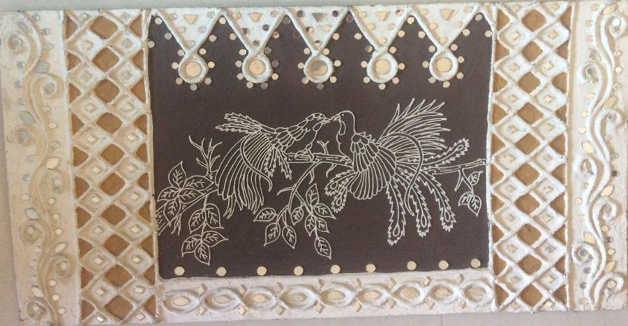 touch of gujarat, 40 x 21 inch, madhu mehta,folk art paintings,paintings for dining room,ply board,mixed media,40x21inch,GAL019025253