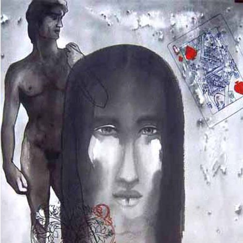 davide and eve, 22 x 30 inch, avi roy,conceptual paintings,thick paper,acrylic color,22x30inch,GAL0172526