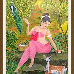 shakuntala , 22 x 30 inch, subhash gijare,figurative paintings,paintings for living room,canvas,oil,22x30inch,GAL01385271