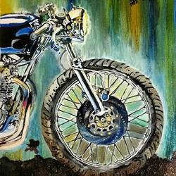 motorcycle 02, 14 x 21 inch, neha patidar,modern art paintings,paintings for living room,canvas,oil,14x21inch,GAL019145275