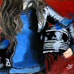 biker chick, 16 x 13 inch, neha patidar,modern art paintings,paintings for living room,canvas,oil,16x13inch,GAL019145281
