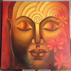 calm buddha , 36 x 36 inch, dimple  geruja ,buddha paintings,paintings for living room,canvas,oil paint,36x36inch,religious,peace,meditation,meditating,gautam,goutam,buddha,orange,flowers,lotus,peaceful,GAL019175284