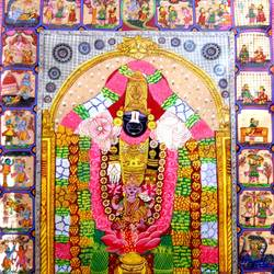 lord krishna as balaji, 24 x 40 inch, k. srinivas rao,religious paintings,paintings for living room,radha krishna paintings,cloth,fabric,24x40inch,GAL016915293,krishna,love,pece,lordkrishna,lord,peace,krishna,devotion,dance,balaji,lordbalaji,