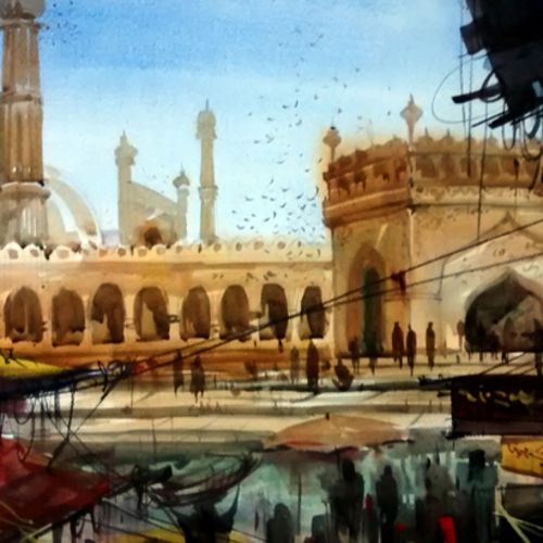 delhi jama masjid, 28 x 20 inch, sankar thakur,religious paintings,paintings for living room,fabriano sheet,watercolor,28x20inch,GAL0753