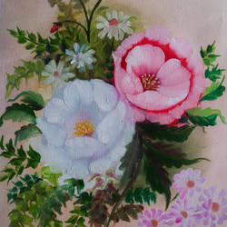 twins, 14 x 21 inch, pankaj tunwal,flower paintings,paintings for living room,thick paper,oil,14x21inch,GAL0276530