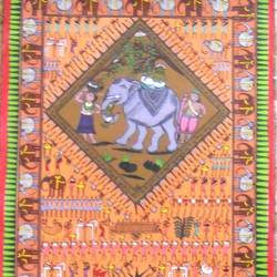 tribal miniature  2, 14 x 42 inch, k. srinivas rao,figurative paintings,paintings for living room,paintings,canvas,acrylic color,14x42inch,GAL016915300
