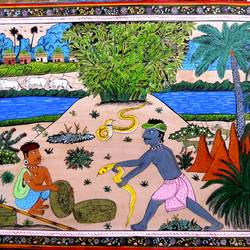 snake man and village, 24 x 18 inch, k. srinivas rao,nature paintings,paintings for living room,paintings,canvas,acrylic color,24x18inch,GAL016915301Nature,environment,Beauty,scenery,greenery
