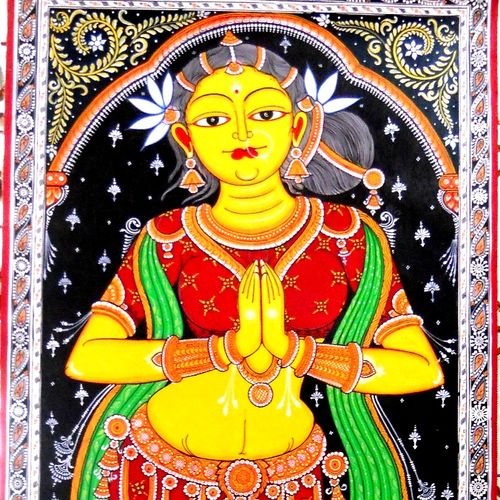 sakhi or lady in welcome posture, 24 x 60 inch, k. srinivas rao,figurative paintings,paintings for living room,paintings,canvas,acrylic color,24x60inch,GAL016915303