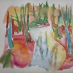 tiny brook , 13 x 13 inch, pubali  chakraborty,nature paintings,paintings for bedroom,cartridge paper,watercolor,13x13inch,GAL018025308Nature,environment,Beauty,scenery,greenery