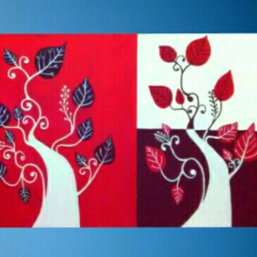 handmade oil  - tree and leaves, 1 x 2 inch, payal  shah,multi piece paintings,paintings for living room,canvas,oil paint,1x2inch,GAL016135312