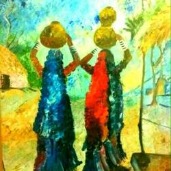 handmade knife  of 2 ladies - village scene, 1 x 2 inch, payal  shah,figurative paintings,paintings for bedroom,canvas,oil paint,1x2inch,GAL016135313