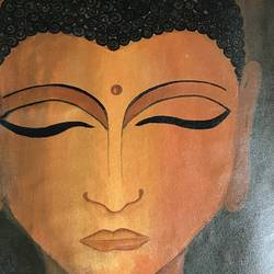 buddha , 18 x 24 inch, prajakta  thomas,buddha paintings,paintings for living room,canvas,acrylic color,18x24inch,religious,peace,meditation,meditating,gautam,goutam,buddha,orange,face,GAL012105318