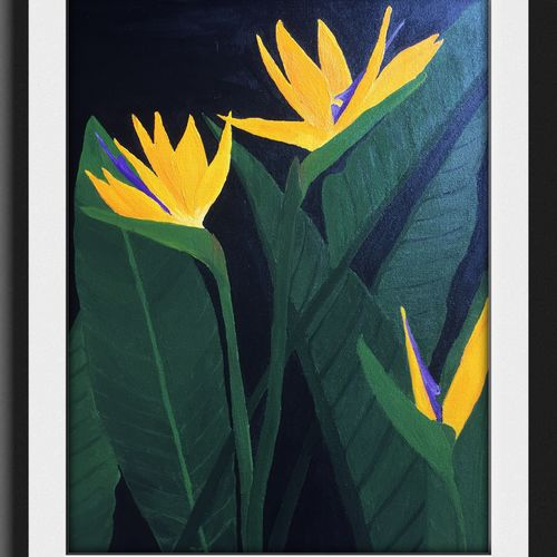 birds of paradise , 18 x 24 inch, prajakta  thomas,abstract paintings,paintings for dining room,canvas,acrylic color,18x24inch,GAL012105319