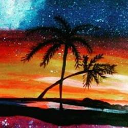 hawaiian nights palm trees, 17 x 12 inch, pranjali chaturvedi,nature paintings,paintings for dining room,paintings,cartridge paper,acrylic color,17x12inch,GAL019045329Nature,environment,Beauty,scenery,greenery