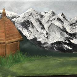 mountains , 24 x 18 inch, prajakta  thomas,paintings for dining room,landscape paintings,canvas,acrylic color,24x18inch,GAL012105332