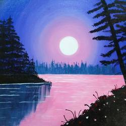 the serene vista, 16 x 12 inch, dhruvi dharia,nature paintings,paintings for office,canvas,acrylic color,16x12inch,GAL019125336Nature,environment,Beauty,scenery,greenery,moon,water,shadow