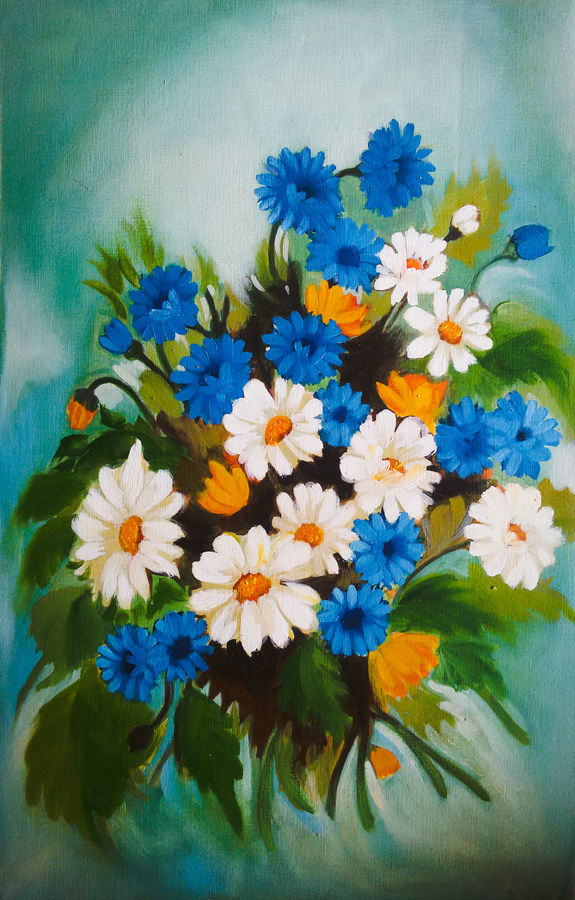 blue bunch, 14 x 21 inch, pankaj tunwal,flower paintings,paintings for living room,thick paper,oil,14x21inch,GAL0276534