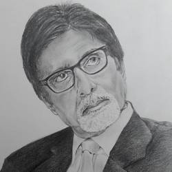 pencil sketch amitabh bachhan, 11 x 16 inch, santanu sen,portrait drawings,paintings for dining room,paper,graphite pencil,11x16inch,GAL019395340