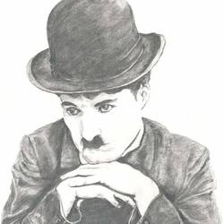 pencil sketch charlie chaplin, 11 x 16 inch, santanu sen,portrait drawings,paintings for living room,paper,graphite pencil,11x16inch,GAL019395341