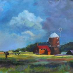 windmill, 30 x 24 inch, aradhana gupta,landscape paintings,paintings for living room,canvas,acrylic color,30x24inch,GAL018525344