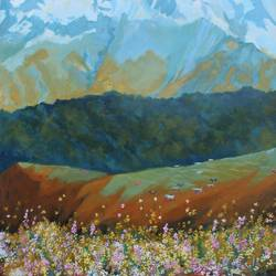 the valley of flowers, 24 x 30 inch, aradhana gupta,landscape paintings,paintings for living room,canvas,acrylic color,24x30inch,GAL018525345