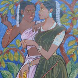 two friends, 19 x 28 inch, aradhana gupta,art deco paintings,paintings for living room,canvas,acrylic color,19x28inch,GAL018525346