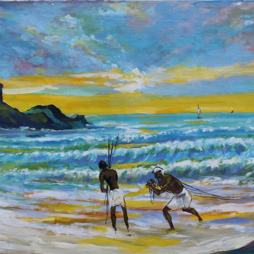 fishermen, 27 x 17 inch, aradhana gupta,landscape paintings,paintings for living room,canvas,acrylic color,27x17inch,GAL018525347