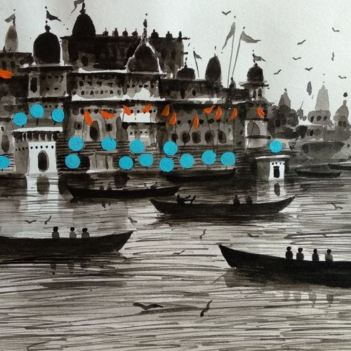 varanasi ghat , 7 x 11 inch, girish chandra vidyaratna,paintings for bedroom,paintings,landscape paintings,paintings for dining room,paintings for living room,paintings for office,paintings for kids room,paintings for hotel,paintings for kitchen,paper,mixed media,7x11inch,GAL0365350