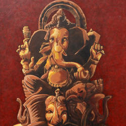 ganesha , 30 x 36 inch, raj kumar sharma ,religious paintings,paintings for office,ganesha paintings,canvas,acrylic color,30x36inch,GAL017695358,vinayak,ekadanta,ganpati,lambodar,peace,devotion,religious,lord ganesha,lordganpati
