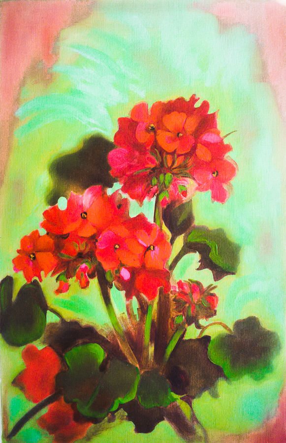 smiling floers, 14 x 21 inch, pankaj tunwal,flower paintings,paintings for living room,thick paper,oil,14x21inch,GAL0276536