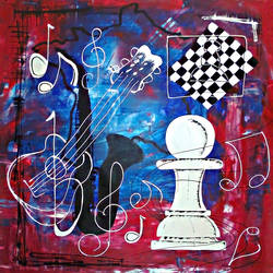 chess theme - active mood, 36 x 36 inch, babu shravan,paintings for office,modern art paintings,canvas,acrylic color,36x36inch,GAL019445363