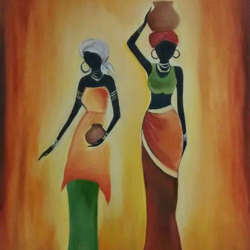 african ladies, 14 x 18 inch, smriti sharma,figurative paintings,paintings for living room,canvas,oil,14x18inch,GAL013785364