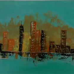 cityscape, 21 x 14 inch, smriti sharma,cityscape paintings,paintings for living room,thick paper,acrylic color,21x14inch,GAL013785365