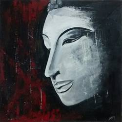 black n white buddha, 22 x 22 inch, smriti sharma,buddha paintings,paintings for living room,thick paper,acrylic color,22x22inch,religious,peace,meditation,meditating,gautam,goutam,buddha,grey,red,side face,GAL013785367