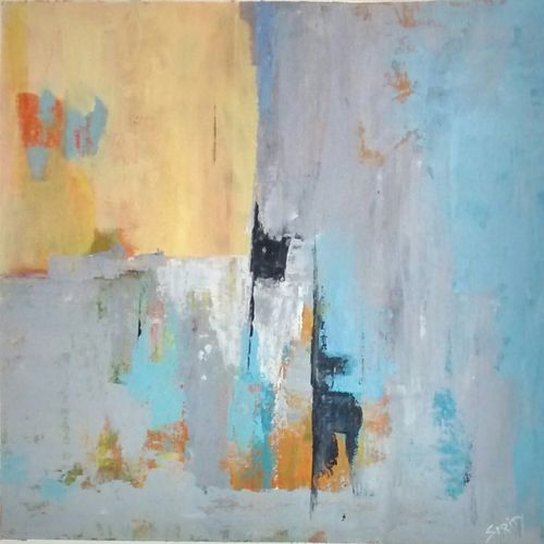 pastel love-2, 19 x 19 inch, smriti sharma,abstract paintings,paintings for office,thick paper,acrylic color,19x19inch,GAL013785369