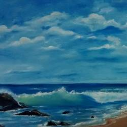 the crashing wave, 19 x 13 inch, smriti sharma,landscape paintings,paintings for living room,canvas,oil,19x13inch,GAL013785370